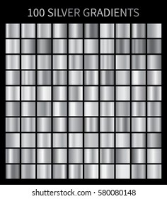 Silver gradients 100 big set. Mega collection of silver gradient illustrations for backgrounds, cover, frame, ribbon, banner, coin, label, flyer, card etc. Vector template EPS10