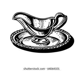 Silver Gravy Boat - Retro Clipart Illustration