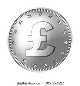 Silver Great Britain pound sterling coin, england money. Vector detailed realistic illustration isolated on a white background.