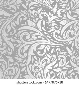 Silver and grey leaves seamless pattern. Vintage vector ornament template. Paisley elements. Great for fabric, invitation, background, wallpaper, decoration, packaging or any desired idea.