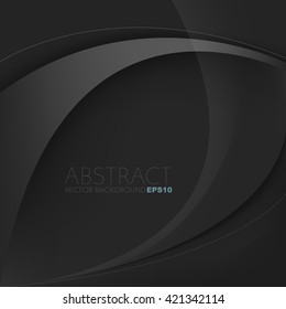 Silver grey line background vector with black overlap paper layer on black space for text and message design