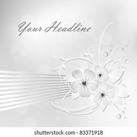 Silver grey and white flower background with striped banner - suitable for love, beauty, birthday, floral greeting and wedding designs