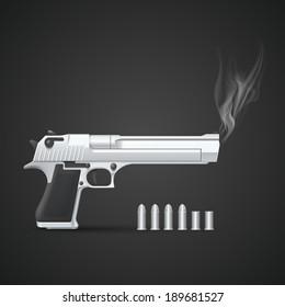 Silver gun with smoke. Vector illustration