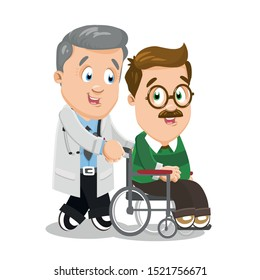 Silver haired nurse man, physician, doctor in white lab coat accompanying disabled person, patient in wheelchair. Medical care concept. Vector cartoon illustration isolated on white background.