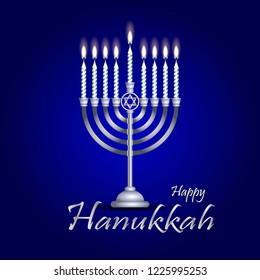 silver hanukkah menorah (hanukkiah) with nine burning candles on a blue background