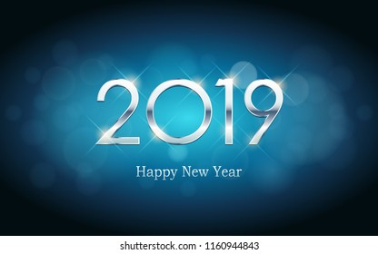 Silver Happy new year 2019 with abstract bokeh and lens flare pattern in vintage blue color background