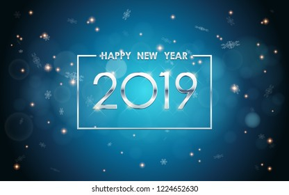Silver Happy new year 2019 in square label with glowing glitter and snowflakes in vintage blue color background