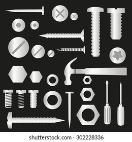 silver hardware screws and nails with tools symbols eps10