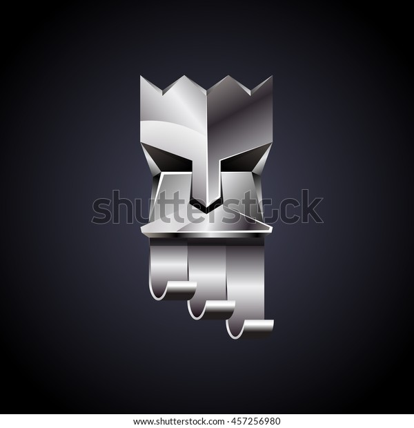 Silver head of king on dark background. Abstract metallic polygonal logo of God with chrome crown.