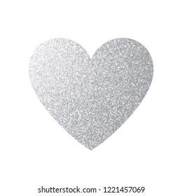 Silver Heart Icon. Vector Shape.