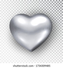 Silver heart isolated. Realistic vector of metallic heart shape. Happy Valentine's day design element. Valentines day or wedding sign. Love concept