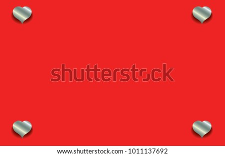 Silver Hearts Ornament On Red Background Stock Vector Royalty Free