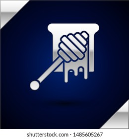 Silver Honey dipper stick with dripping honey icon isolated on dark blue background. Honey ladle.  Vector Illustration