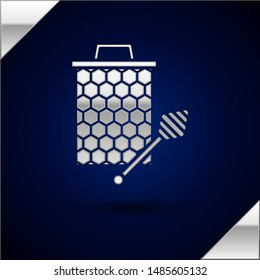 Silver Honeycomb with honey dipper stickicon isolated on dark blue background. Honey ladle. Honey cells symbol. Sweet natural food.  Vector Illustration