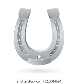 Silver horseshoe. Illustration on white background for design