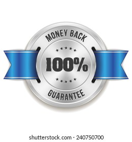 Silver hundred percent money back badge with blue ribbon on white background