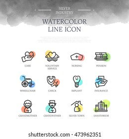 Silver industry line icon set