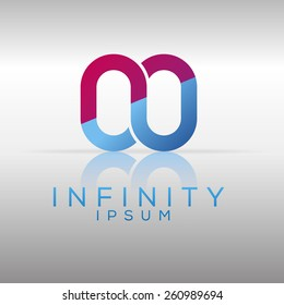 Silver infinity logo template. Vector graphic element.