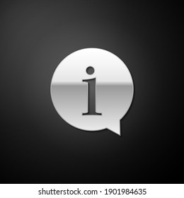 Silver Information icon isolated on black background. Long shadow style. Vector.