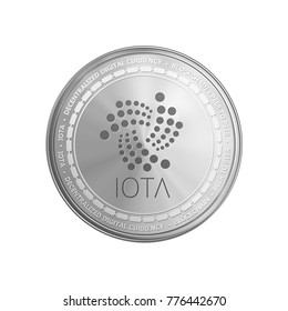 Silver IOTA coin. Crypto currency blockchain coin IOTA symbol isolated on white background. Realistic vector illustration.