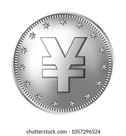Silver Japanese yen or Chinese yuan coin, money. Vector detailed realistic illustration isolated on a white background.