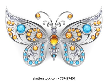 Silver jewelry butterfly decorated with amber and larimar on white background.