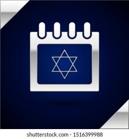 Silver Jewish calendar with star of david icon isolated on dark blue background. Hanukkah calendar day.  Vector Illustration