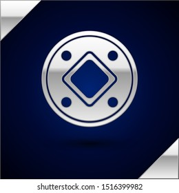 Silver Jewish coin icon isolated on dark blue background. Currency symbol.  Vector Illustration