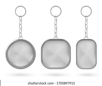 Silver keychain, holder trinket for key with metal chain and ring. Vector realistic template of steel fob for car, home or office isolated on white background. Blank accessory for corporate identity