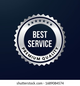 Silver label, premium quality. Silver metal badge. Eps 10 vector illustration.