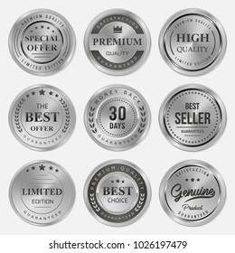 Silver labels and badge seal quality set rounded on white background
