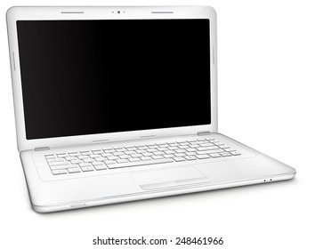 Silver laptop with copy space at black blank screen, isolated on white background. Three-quarter view.