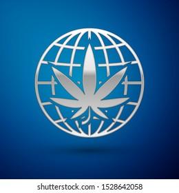 Silver Legalize marijuana or cannabis globe symbol icon isolated on blue background. Hemp symbol.  Vector Illustration