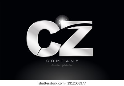 silver letter cz c z metal combination alphabet logo icon design with grey color on black background suitable for a company or business