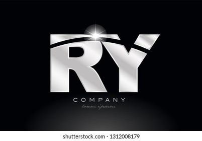 silver letter ry r y metal combination alphabet logo icon design with grey color on black background suitable for a company or business