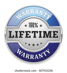 Silver lifetime warranty badge with blue border on white background