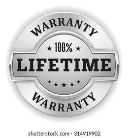 Silver lifetime warranty badge on white background