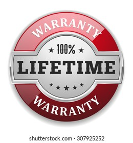 Silver lifetime warranty badge with red border on white background