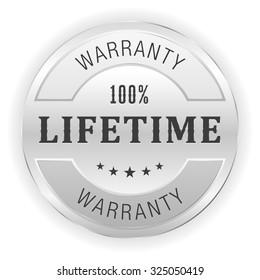 Silver lifetime warranty button on white background