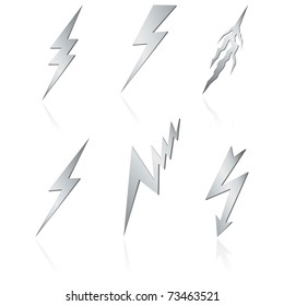 Silver lightning set on white. Vector