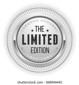 Silver limited edition badge on white background