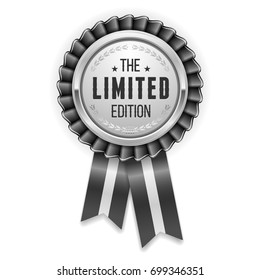 Silver limited edition badge / rosette with black ribbon