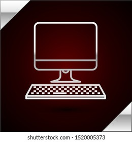 Silver line Computer monitor with keyboard icon isolated on dark red background. PC component sign.  Vector Illustration