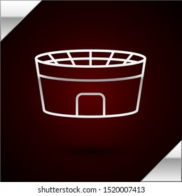 Silver line Football stadium icon isolated on dark red background. Football arena.  Vector Illustration