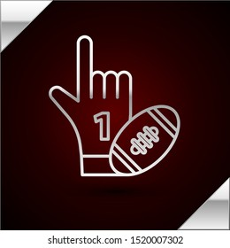 Silver line Number 1 one fan hand glove with finger raised and american football ball icon isolated on dark red background. Set of sport equipment.  Vector Illustration
