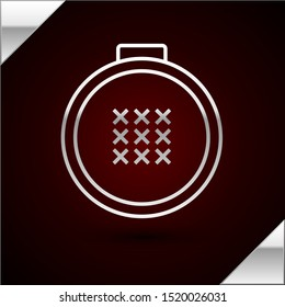 Silver line Round adjustable embroidery hoop icon isolated on dark red background. Thread and needle for embroidery.  Vector Illustration