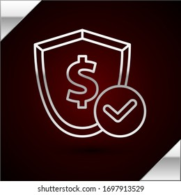 Silver line Shield with dollar symbol icon isolated on dark red background. Security shield protection. Money security concept.  Vector Illustration