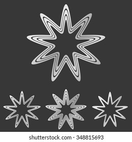 Silver line star logo icon design set