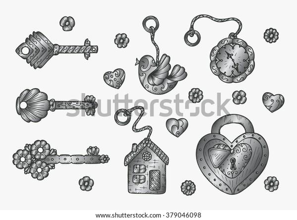 Silver Lock Trinkets Keys Vector Vintage Stock Vector (Royalty Free