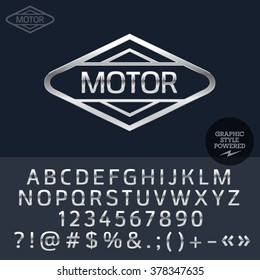 Silver logo for motorbike and car shop. Vector set of letters, numbers and symbols.